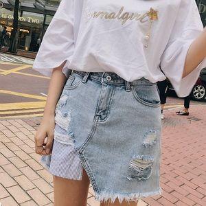 1 Day Sale! ✨ Distressed Light Denim Skirt